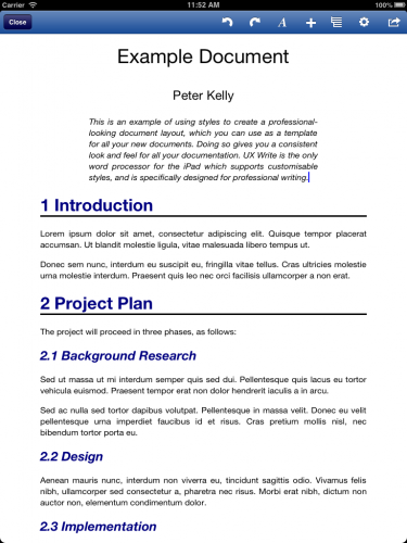 Example document created from a template