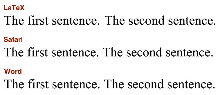 Sentence spacing