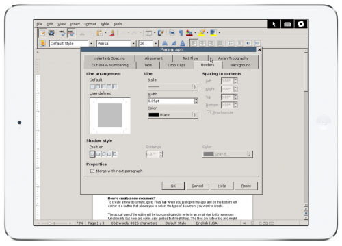 Remote access to OpenOffice on an iPad, complete with scroll bars, windows, and a mouse pointer